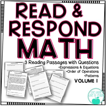 Read & Respond About Math ~Vol.1~ Expressions, Order of Op