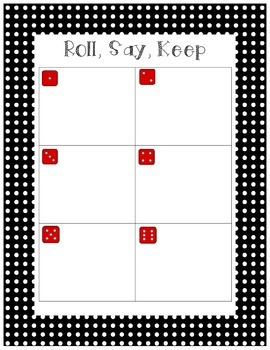 Roll, Say and Keep Unit 2 First Grade Treasures