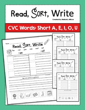Read,Sort, Write Word Sorts with Short Vowels BUNDLE