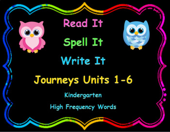 Read, Spell, Write Kindergarten Journeys High Frequency Wo