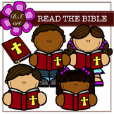 Read The Bible Digital Clipart (color and black&white)