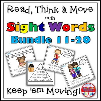 Sight Word Activities: Read, Think & Move Task Cards BUNDLE 11-20