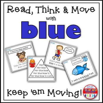 Sight Word Activities - Read, Think & Move Task Cards - BLUE