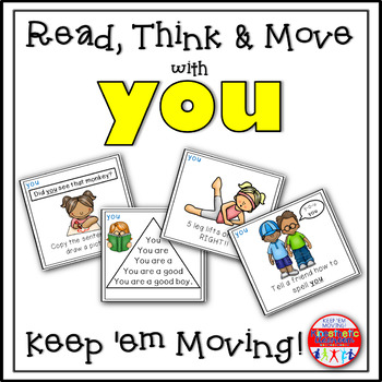 Sight Word Activities - Read, Think & Move Task Cards - YOU