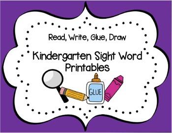 Read, Write, Glue Kindergarten Sight Word Sentence Printab