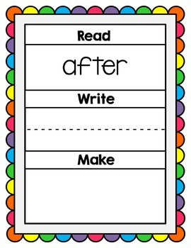 Read, Write, Make Dolch 1st Grade Practice