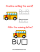 Read and Draw Single Word Vocabulary Printable: BUS