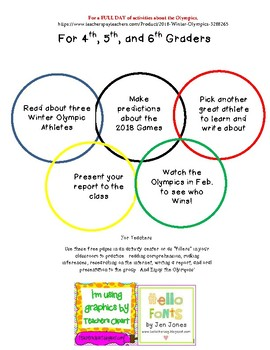 Winter Olympics Freebie/Read and Make Medal Predictions