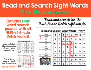 Read and Search Sight Words - Dolch First Grade Words - Wo