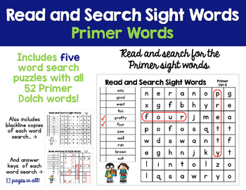 Read and Search Sight Words - Dolch Primer Sight Words - W