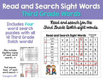 Read and Search Sight Words- Dolch Third Grade Words - Wor
