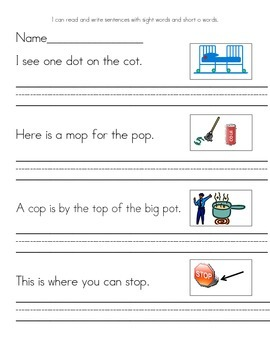 Read and Write sentences with short o words