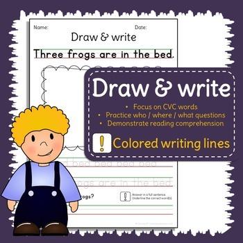 Sentence writing practice - CVC words - Read, draw, write
