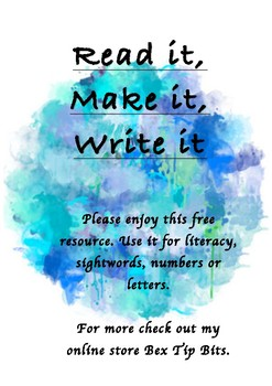 Read it, Make it, Write it Group activity mat.