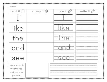Read it, Stamp it, Trace it, Write it - Sight words, Numbe