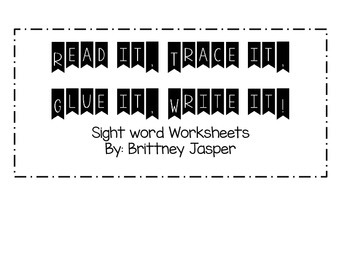 Read it, Trace it, Glue it, Write it Worksheets