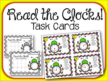 Read the Clock Task Cards.  Math Center. Clocks. Teling Time
