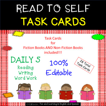 Read to Self Task Cards - EDITABLE - Great for Daily 5 and