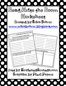 Printables Write The Room Worksheet readwrite the room worksheet free by erica bohrer teachers pay free