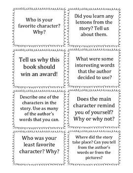 Reader Response Cards: K-3rd Grade