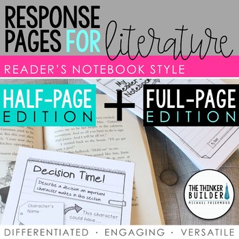 Reader's Notebook Response Pages for Literature *HALF-PAGE
