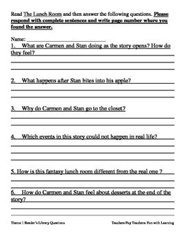Reader's Library~3rd Grade~ Theme 1 Questions