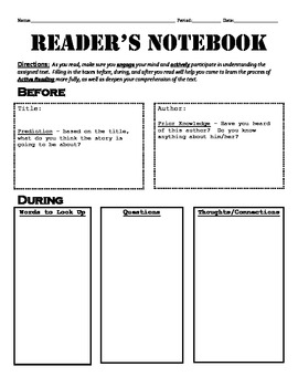 Reader's Notebook - Active Reading