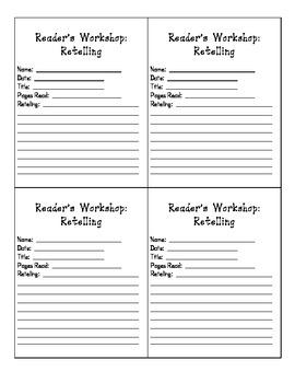 Reader's Notebook Retelling Sheet