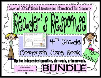 Reader's Response Book - 4th Grade Common Core Bundle - Us