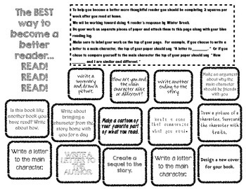 Reader's Response Choice Boards... Lose the Boring Book Report!