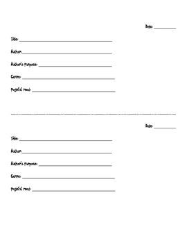 Reader's Response Notebook Headers