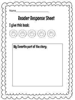 Reader's Response Sheet