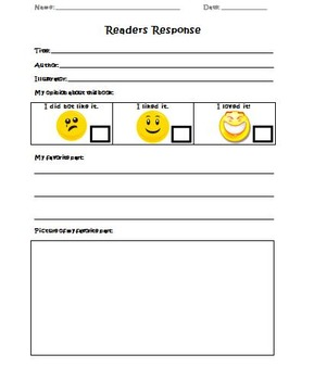 Readers Response Worksheets in English and Spanish