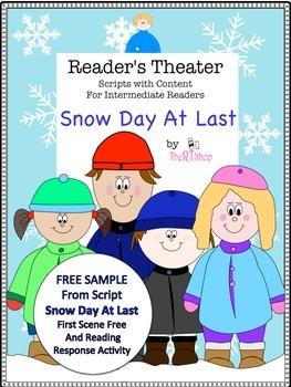 "Reader's Theater ""Snow Day At Last"",1st Scene FREE, Readin"