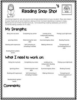 Reader's Workshop Quick Assessment {Snap Shot Page}
