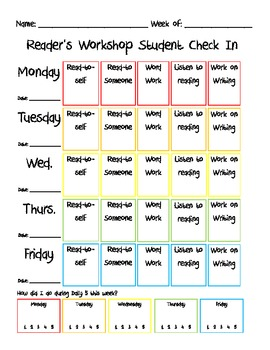 Reader's Workshop Student Choice Sheet