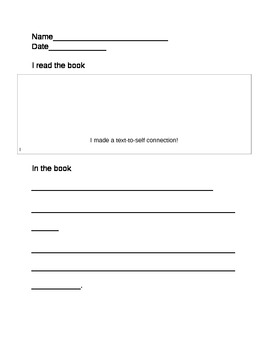 Reader's Workshop: Text-to-Self response sheets