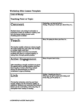 Reader's and Writer's workshop minilesson template FREEBIE