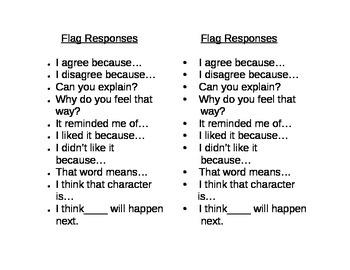 Readers' response bookmark