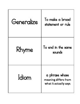 Reading Academic Vocabulary Match Game/Flash Cards STAAR,
