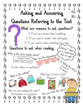 Reading Anchor Chart: Asking and Answering Questions