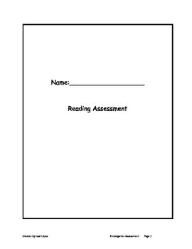 Reading Assessment for K or 1 Grade