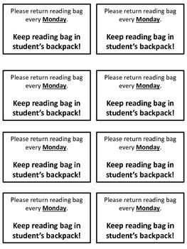Reading Bag Return Note