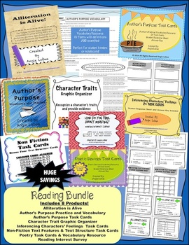 Reading Bundle: Activities, Handouts, and 4 Sets of Task C