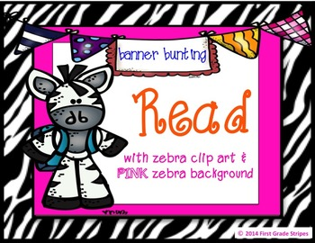 Reading Bunting Banner-Zebra Theme (pink)
