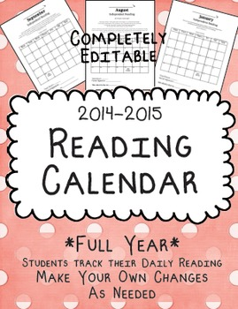 Reading Calendar 2014-2015 {Full Year, Fully Editable}