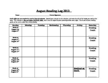 Reading Calendar for School Year 2013-2014