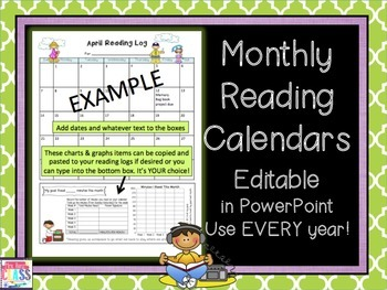 Editable Reading Calendars for Use ANY and Every Year * Mo