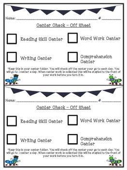 Reading Center Check Off Sheet