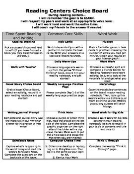 Reading Center Choice Board